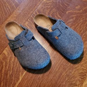 Grey Birkenstock Boston Clogs, Size 37